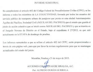 Informe semestral de ACS vs Águilas del Pacífico