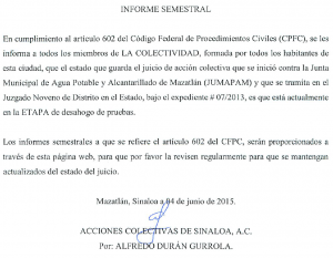 Informe semestral de ACS vs Jumapam (Creston)