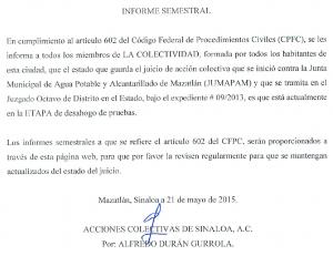Informe semestral de ACS vs Jumapam (Jacarandas)